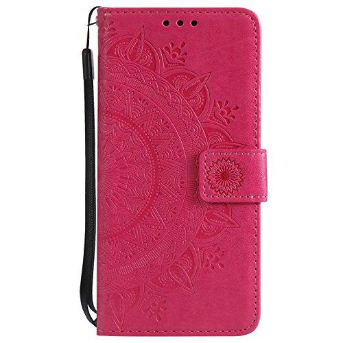 Boloker Kompatibel mit LG K8 2017 Hülle + Bildschirmschutz, Prägung Muster Schutzhülle PU Leder Handyhülle Wallet Hülle Flip Hülle Brieftasche Ledertasche (Rot)