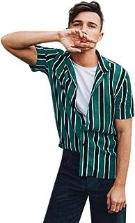 ESAILQ Men Shirt Baggy Beach Striped Short Sleeve Button Turn-Down Collar Retro T Shirts Tops Blouse