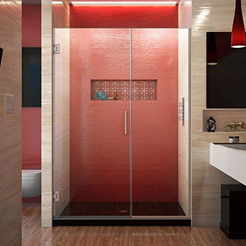 DreamLine Unidoor Plus 45 1/2 - 46 in. W x 72 in. H Frameless Hinged Shower Door in Brushed Nickel, SHDR-244557210-04