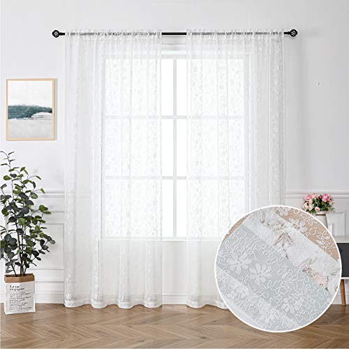 """Floral Lace Sheer Curtains White for Kids' Bedroom 63-inch Length European Wedding Flower Window Voile Drapes Light Filtering Short Window Treatment Sets for Café Balcony 55"""" W x 2 Panels Rod Pocket"""
