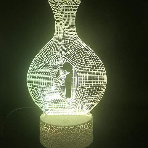 Luz De Ilusión 3D Luz De Noche Led La Botella De Vino El Jarrón Bonito Regalo Para Adultos Usb Alimentado Por Batería Multicolor Con Control Remoto Cumpleaños Para Niños Regalos