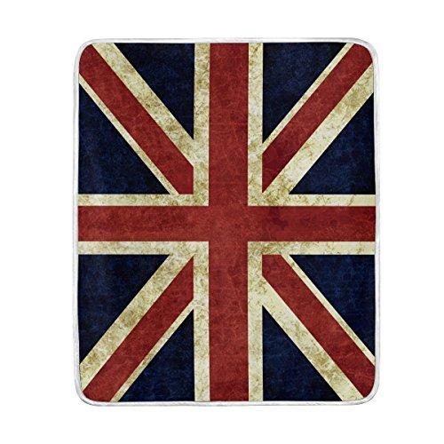 Use7 Weiche warme Decke mit Motiv der englischen Flagge, für Bett, Couch, Sofa, leicht, für Reisen, Camping 127 cm x 152,4cm, Überwurf, Größe für Kinder, Jungen, Frauen