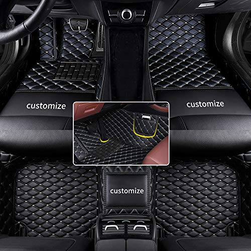 Muchkey car Floor Mats fit for 95% Custom Style Luxury Leather All Weather Protection Floor Liners Full car Floor Mats Black-Beige