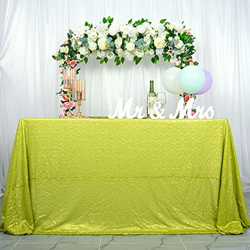 ShinyBeauty Sequin Tablecloth Lime Green-60x102-Inch Rectangle Sparkly Fabric Tablecloth Sequin Rectangular Table Cloth for Wedding Party Cake Sweetheart Table