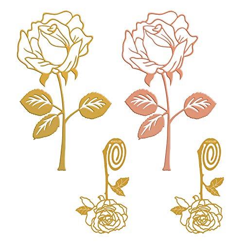 4 Pezzi Segnalibro In Metallo a Forma di Rosa, Segnalibro Creativo In Metallo Segnalibro, Segnalibro Fiore per Fidanzata Festa di Compleanno Ufficio Scuola da Oro Rosa e Oro