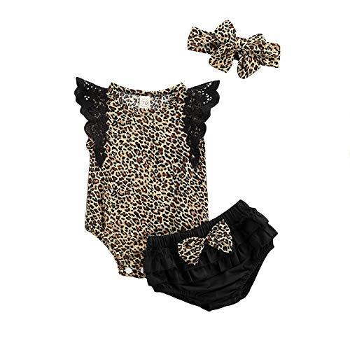 BemeyourBBs Ropa para bebés y niñas de verano, diseño de leopardo, pantalones cortos, diadema, 3 unidades