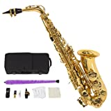 Best Choice Products New Professional Gold Eb Alto Sax Saxophone with Accessories