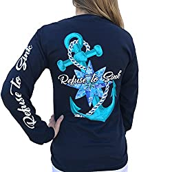 Southern Attitude Refuse to Sink Anchor Navy Blue Long Sleeve T-Shirt