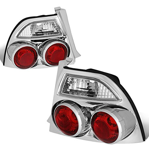 Replacement for 1994-1997 Honda Accord 2/4-Dr Pair Chrome Housing Skyline Style Tail Light Brake Lamps (Honda Accord 2dr Carbon Fiber)