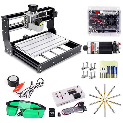CNC 3018 Pro 5500mw Láser Máquina de Grabado, Versión de Actualización Yofuly GRBL Control DIY Mini máquina CNC, fresadora de PCB de 3 ejes con controlador, con ER11 y varilla de extensión de 5 mm