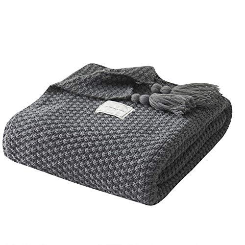UnvfRg Nordic Handgemachte Strickdecke, modischer Überwurf, für Sofa, Bett und als Zudecke, grau, 130x170cm