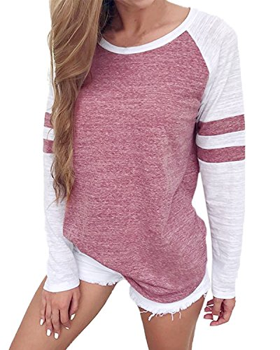 VONDA Langarmshirt Damen Oberteile Baseball Shirt Gestreift Farbblock Bluse Casual Lose Rundhals Oversize Pullover A-Rosa L