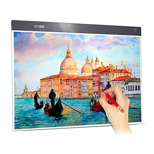 Aibecy A2 Large Ultra-Thin LED Light Pad Box Painting Tracing Panel Copyboard Stepless Adjustable Brightness USB Powered for Cartoon Tattoo Tracing Pencil Drawing X-Ray Viewing