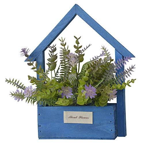 Huis en Mas kunstbloemen voor de tuin met blauwe bloempot van natuurlijk hout, paarse bloemen, decoratief, 24 x 6 x 16 cm