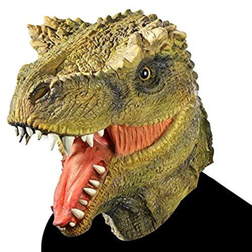 WYJSS Party Story Mscara de Cabeza de Dinosaurio Mscara de Cabeza de Animal de ltex Novedad Encantadora Disfraces Disfraces Disfraces de Halloween Vestidos de Disfraces de Halloween,Green-OneSize