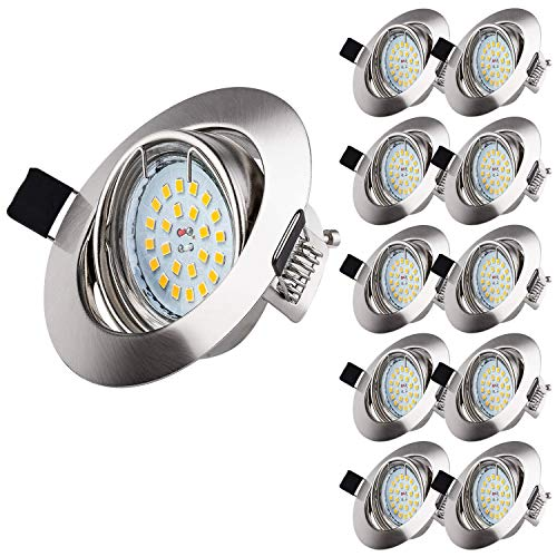 Wowatt 10 x Ojos de buey de led 6w Equivalente a Halogeno 50W Foco empotrable techo Incluye GU10 Blanco Frio 6000k Luz de Techo 600lm 83Ra AC220V Ángulo de visión 120°Marco Redondo
