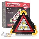 OurLeeme Triangoli di segnalazione per auto, LED Spia per auto 30 W 4 modalità di emergenza Triangolo impermeabile Lampada di emergenza per riparazione auto di emergenza (batteria non inclusa)