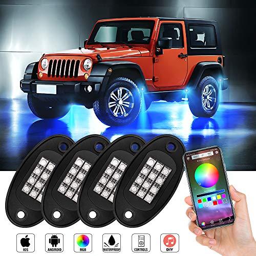 JoaSinc RGB LED Rock Lights Kit, 4 Pods LED Unterbodenbeleuchtung mit Bluetooh App Kontrolle, Timing Funktion, Musikmodus, Stimmkontrolle, Bremsmodus, für KFZ-Boot Marine-SUV