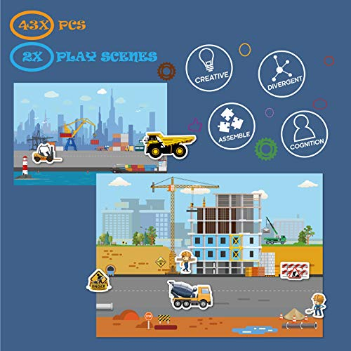 Magnetic Portable Playboard Construction Site Engineering Vehicles (44 Pcs )