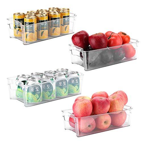 Puricon Juego de 4 Cajas de Almacenaje de Refrigerador, Organizadores Transparentes Plásticos Apilables de Nevera como Divisor de Comidas, para Cocina Despensa Gabinete Baño Armario Cajón