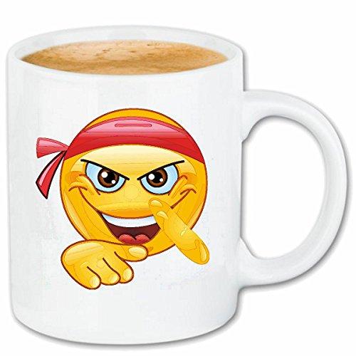 Reifen-Markt Kaffeetasse Smiley ALS MMA KÄMPFER MIT STIRNBINDE Smileys Smilies Android iPhone Emoticons IOS GRINSEGESICHT Emoticon APP Keramik 330 ml in Weiß