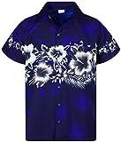 King Kameha Funky Camicia Hawaiana, Fiori, Stampa sul Petto, Blu, 3XL