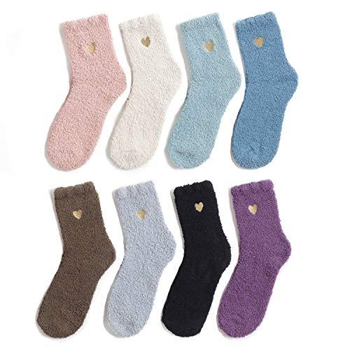 Azue Kuschelsocken Damen Wintersocken Warme Flauschige Weihnachtssocken Fuzzy Sock 8 Paare Herz