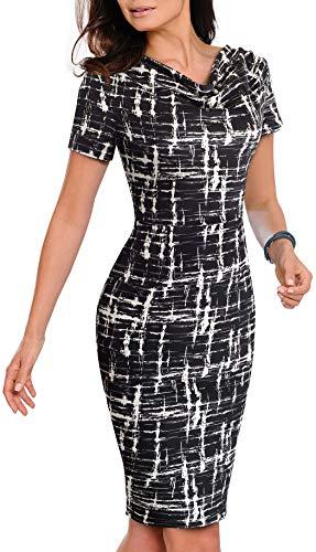 HenzWorld - Vestido a Media Pierna con Cuello Redondo y Estampado Informal para Mujer Vestido Ajustado de Manga Corta con Cuello Redondo y Sexy para Mujer Negro Talla L