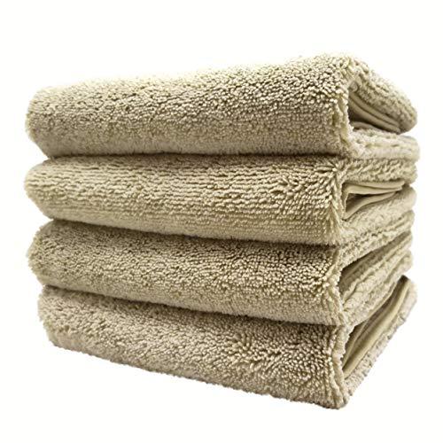 Polyte - Juego de 4 toallas de mano de microfibra de secado rápido, 40,6 x 76,2 cm, color beige