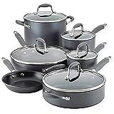 Anolon Advanced Home Hard-Anodized Aluminum 11-Piece Cookware Set (84631, Moonstone)