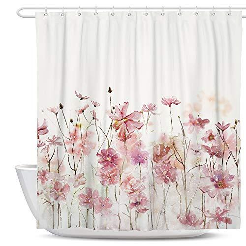 SUMGAR Duschvorhang mit Blumenmuster, rosa, Blumenmuster, Badezimmervorhänge, Polyestergewebe, wasserdicht, mit 12 weißen Vorhangringen, 180 x 180 cm