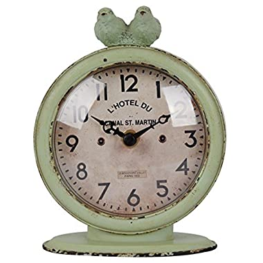 NIKKY HOME Shabby Chic Pewter Round Quartz Table Clock with 2 Birds, 4.75  x 2.5  x 6.12 , Light Green