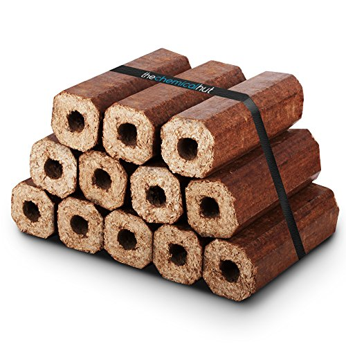 X12 Premium Eco Wooden Heat Logs Pack. Fuel for Firewood,Open Fires, Stoves and Log Burners - Comes With The Log Hut Woven Sack