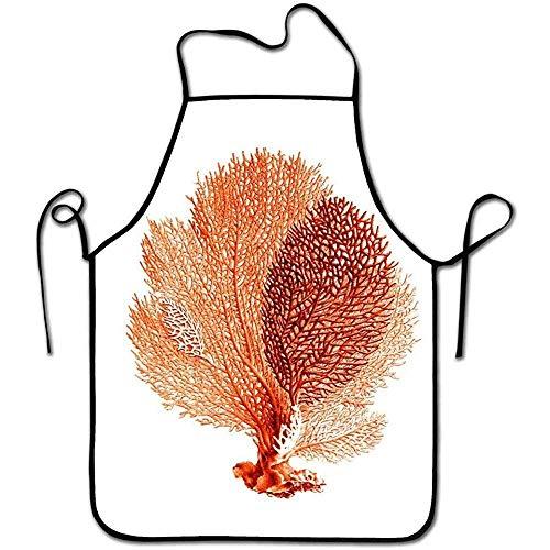 DSFA Grembiule da Cuoco alla Moda Uomo Grembiule da Donna per Cottura Cottura Artigianato Giardinaggio BBQ Corallo Arancione