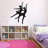 Bailarina silueta bailarina pegatinas de pared niños niñas niñas dormitorio decoración del hogar vinilo pegatinas de pared estudio de baile arte murales