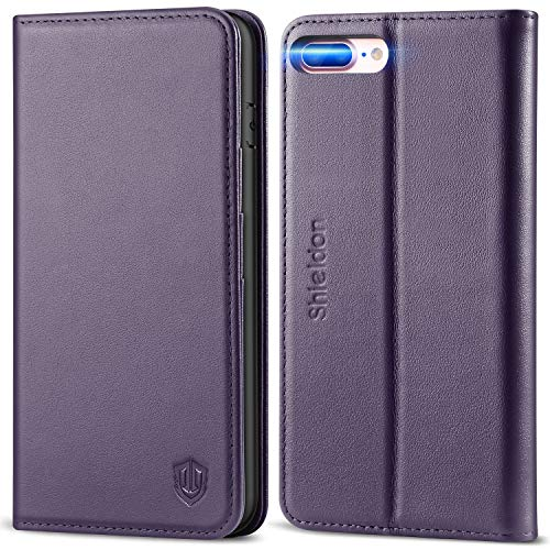 SHIELDON iPhone 8 Plus Case, iPhone 7 Plus Wallet Case, Genuine Leather iPhone 8 Plus Flip Magnetic Cover Card Slots Holder Kickstand TPU Shockproof Case Compatible with iPhone 7Plus - Purple