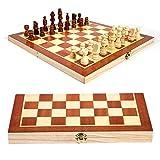 CHUJIAN 1set de ajedrez de Madera Plegable Set Internacional de Ajedrez for el Almacenamiento Adultos Niños Principiante Gran Tablero de ajedrez for el Partido Que acampa 34x34cm (Color : 1PCS)
