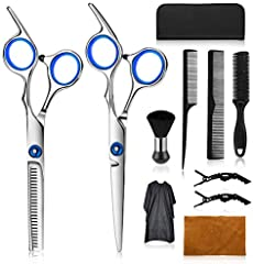 Wrei tijeras de peluquería, Conjunto Tijeras Peluquelo Profesional para el cabello, tijeras de peluquería con capa de barbero y peine de maquinilla de afeitar, set corte de pelo profesional (blanca)
