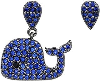 Asymmetric Ocean Animal whale Dangle Drop Earrings with Blue Swarovski Elements Cubic Zirconia Crystal Fashion Jewelry Women