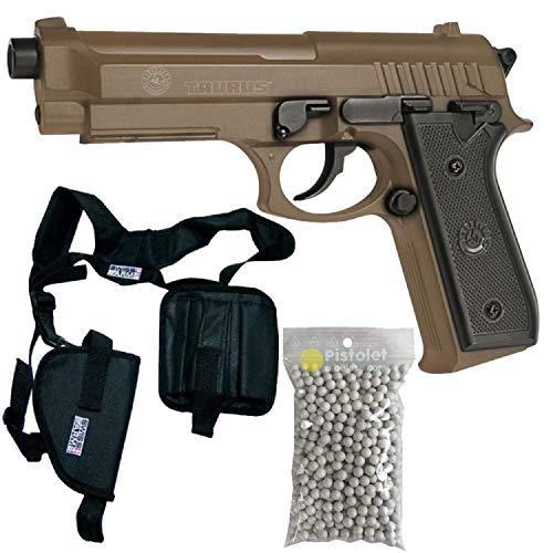 Pacchetto Completo con Accessori - Pistola per Airsoft, Taurus PT92 Deserto, a Molla, 0,5 Joule, Carrello in Metallo, Ricarica Manuale