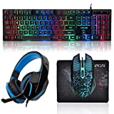 CHONCHOW Gaming Keyboard Mouse and Gaming Headset and Mouse Pad Combo, Rainbow LED Backlit USB Wired, All in 1 PC Gamer Bundle for PC, Tablet, Mobile Phones