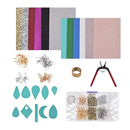 DAXINYANG Colorful Linght Fashion DIY Making Leather Earring Kit Instructions Templates PU Leather Sheets Tools Bows Crafts Handmade Gifts,1Set (Metal color : C)