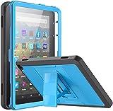 MoKo Funda Compatible con All-New Kindle Fire HD 8/Fire HD 8 Plus Tablet(10th Gen,2020 Release), Shockproof Híbrido Resistente Smart Case con Protector de la Pantalla Incorporado, Azul y Gris Oscuro