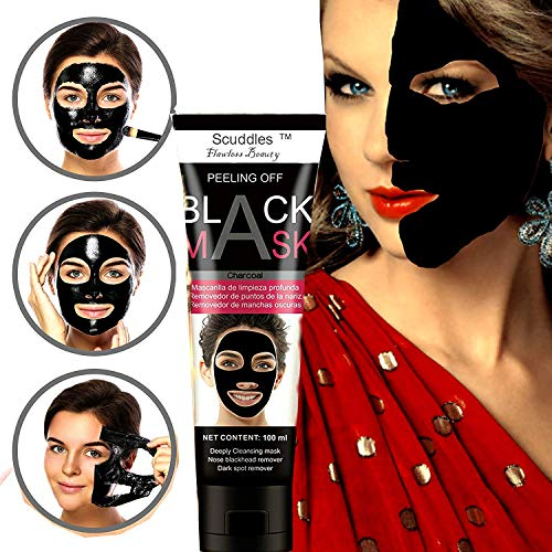 Blackhead Remover Face Black Mask - Peel Off Purifying Quality Black Peel off Charcoal Mask - Best Mud Facial Mask Packaging May Vary (SC-BM-03)