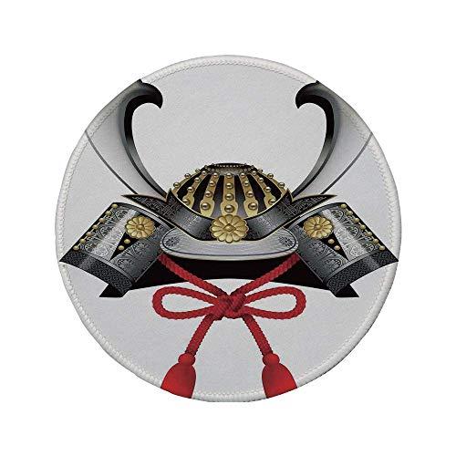 Rutschfeste runde Mauspads aus Gummi japanischer klassischer traditioneller japanischer Helm Kabuto Silber Custom Medieval Period Icon Print Graugold 7.9