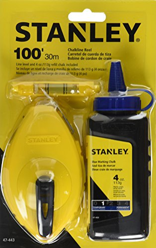 Stanley 47-443 3 Piece Chalk Box Set - 4-Ounce bottle Blue Stanley Chalk & Plastic Line Level