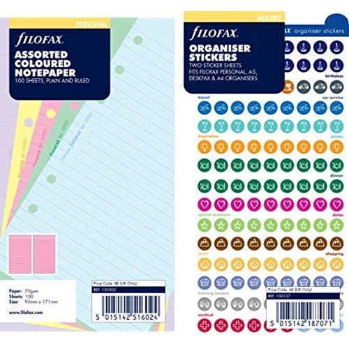 Filofax 130502 Notizpapier, liniert und blanko, bunt & Filofax 130137 Organiser Stickers