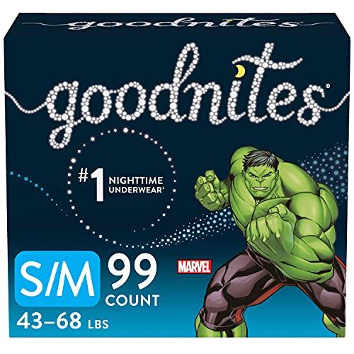 Goodnites Nighttime Bedwetting Underwear, Boys' S/M (43-68 lb.), 99ct, FSA/HSA-Eligible