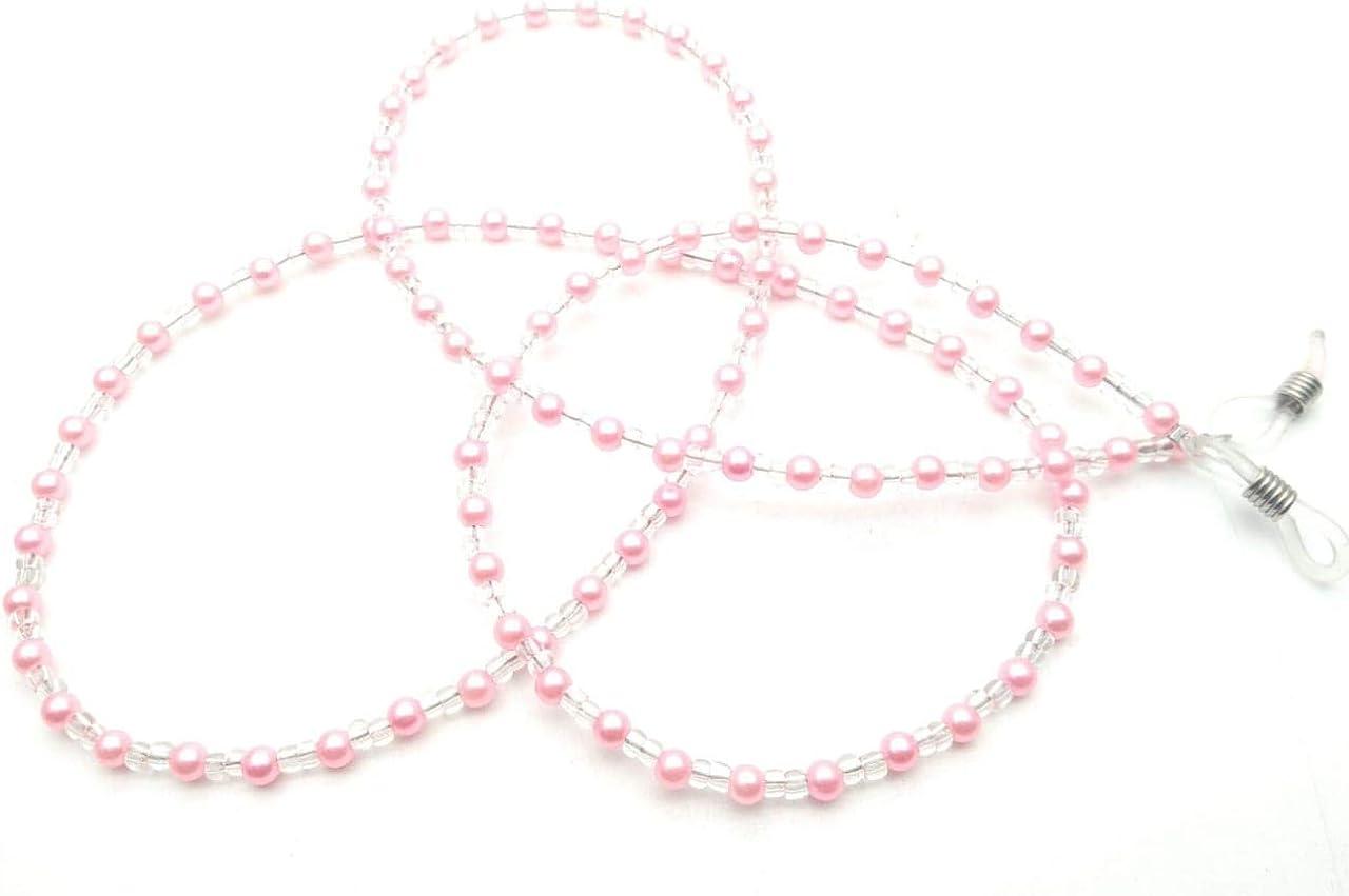 RSINC Eyeglass Chain Holder for Men, Women, Children Fake Pink (Pink) Color + White (Pearl) Beaded Spotlight Cord Non-slip Sunglass Chain Metal Alloy Holder Cord 80cm