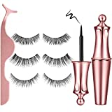 Magnetic Eyelashes – LAVONE 3D Magnetic Eyelashes with Eyeliner Kit, 3 Pairs Reusable Natural Look Magnetic Eyeliner and Lashes, with Applicator - no Glue Needed